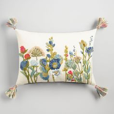 Embroidered Botanical Garden Lumbar Pillow: Multi by World Market Embroidery Flowers Pattern, Crewel Embroidery, Ribbon Embroidery, Stenciled Pillows, Linen Pillows, Buy Pillows, Floral Throw Pillows, Boho Chic Interior, Embroidered Pillowcases