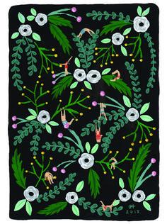 Black floral Art print of original painting by Helo Birdie - Whimsical - art deco - vintage style - flowers - Art Prints For Sale, Framed Art Prints, Bright Art, Fun Illustration, Gouache Painting, Whimsical Art, New Art, Find Art, Original Paintings