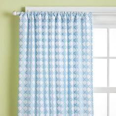 Kids' Curtains: Kids Blue Lattice Print Curtain Panels in All Room Decor