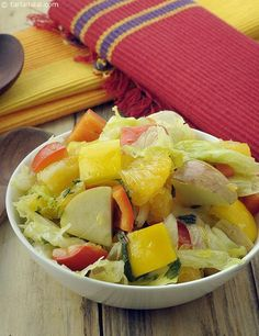 Fresh Fruit and Vegetable Salad in A Mint Dressing recipe, Gourmet Recipes Top 10 Healthy Foods, Healthy Eating, Healthy Recipes, Healthy Meals, Indian Food Recipes, Gourmet Recipes, Ethnic Recipes, Mexican Recipes, Cooking Recipes