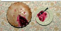 This was for a pie swap for Hitty. I made the cherry pie from polymer clay. It's *about* 1:12 scale.