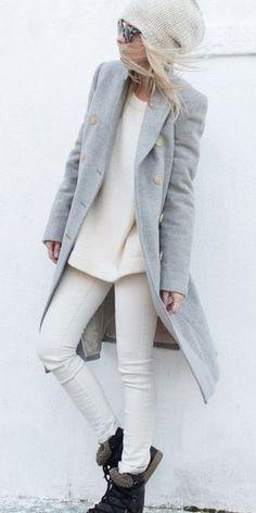 Gray and white winter style style syysvaatteet, pelkistetty tyyli и naisten Fashion Mode, Look Fashion, Womens Fashion, Fashion Trends, Street Fashion, Fall Fashion, Fashion News, White Fashion, Fashion History