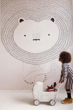 Lion Heart Children's Wallpaper Mural in Dusky Pink, White & Black Heart Wallpaper, Kids Wallpaper, Room Wallpaper, Wallpaper Childrens Room, Wallpaper Paste, Kids Bedroom, Bedroom Decor, Bedroom Ideas, Wallpaper Companies