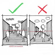 ✍🏻Perspective Architectural drawing tip. For shorter person or children the… ✍🏻Perspective Architectural drawing tip. For shorter person or children their head will not touch to Horizon. Interior Architecture Drawing, Architecture Drawing Sketchbooks, Architecture Concept Drawings, Architecture Portfolio, Victorian Architecture, House Architecture, Architectural Drawings, Origami Architecture, Minecraft Architecture