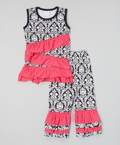 Look what I found on #zulily! Black Damask Ruffle Tank & Pants - Infant, Toddler & Girls by Tutu AND Lulu #zulilyfinds