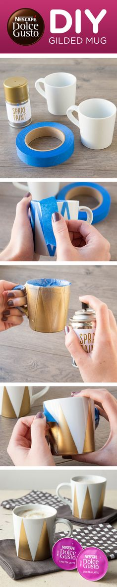 Make your own gilded mug with this delicious craft tutorial. It's a a simple DIY project using tape, paint and a neutral cup. Take advantage of a golden opportunity to easily make something beautiful for all your yummy Dolce Gusto drinks.
