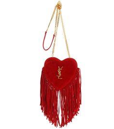 dec7e2f0b6f8c SAINT LAURENT Small Love Heart Chain Fringed Suede Shoulder Bag.   saintlaurent  bags