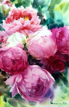 "Watercolor peonies - ""Bloom"" by Adisorn Pornsirikarn Watercolour Painting, Watercolor Flowers, Tattoo Watercolor, Peony Painting, Watercolors, Floral Illustration, Arte Floral, Painting Inspiration, Flower Art"
