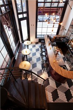 Incredible floor tile honeycomb design! Carter Restaurant Kitchen Bar Amsterdam - Interior Design by Nicemakers