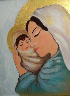 Matka Boska z Dzieciątkiem obraz religijny, doskonały na prezent z okazji I Komunii, 24x30cm, z ramką drewnianą.