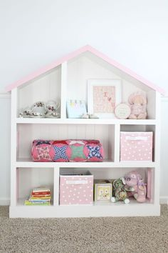 Create a DIY Dollhouse Bookcase that looks even better than the version sold at Pottery Barn Kids!