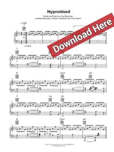 coldplay hypnotised sheet music, piano notes, chords download
