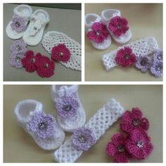 Baby sandal and headband with interchangeable flowers Baby Sandals, Crochet Baby, Crochet Necklace, Flowers, Jewelry, Jewlery, Jewerly, Schmuck, Jewels
