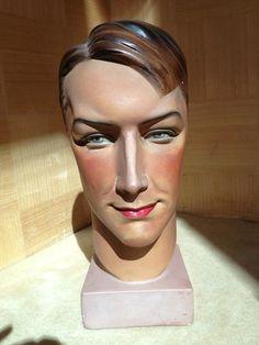 Vintage German Plaster Male Mannequin Head, ca 1935