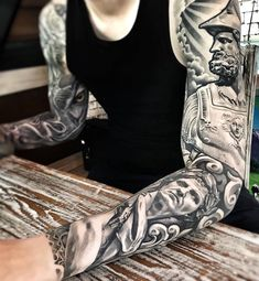 Black and Grey Sleeve Tattoo - Best Sleeve Tattoos For Men: Cool Full Sleeve Tattoo Ideas and Designs Tattoos Masculinas, Full Sleeve Tattoos, Tattoo Sleeve Designs, Tattoos For Guys, Black And Grey Tattoos For Men, Black And Grey Tattoos Sleeve, Black Tattoos, Lil B Tattoo, Filagree Tattoo