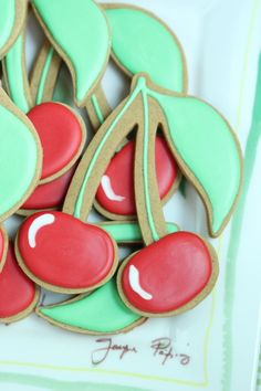 Cherry Decorated Cookie Tutorial by @Sweetopia ~ Marian Poirier ~ Marian Poirier via #TheCookieCutterCompany www.cookiecuttercompany.com