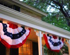 Patriotic bunting decorated the porch