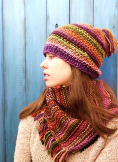 Lavender and orange. Hat and snood set knitted striped