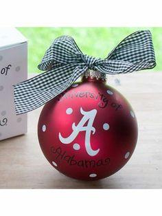 $14.50 4 University of Alabama Logo Glass Keepsake Ornament with Gift Box