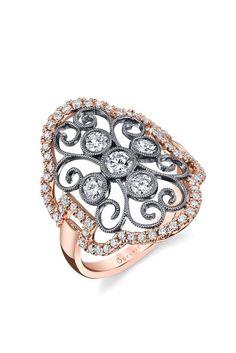 Sylvie Collection's 18-karat rose gold and diamond ring. [Photo by Stephen Sullivan]