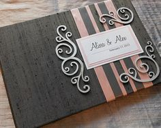Gray and Light Pink Wedding Guest Book with Swirl Embellishments (made to order)