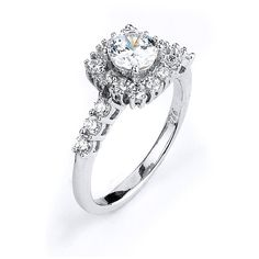 1 Carat Cubic Zirconia Square Halo Engagement Ring