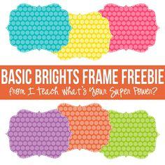 Basic Brights Digital Frames FREEBIE.  Turquoise, yellow, pink, purple, orange, and lime green.