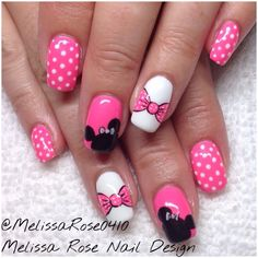 Minnie Mouse nails #Disney #Minnie #minniemouse #nails #nailart #nailswag #nailsinsurrey #surrey #surreybc #bow #polkadots #notd #mua #lowermainland #metrovancouver #pink