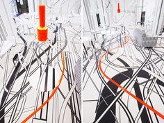 Tobias Rehberger, Artek, Logomo Café, Finland, 2011.  http://www.designboom.com/design/tobias-rehberger-x-artek-nothing-happens-for-a-reason/
