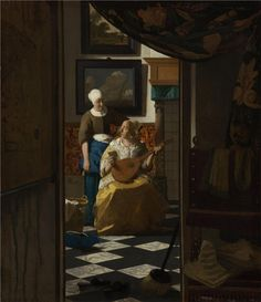 """Johannes Vermeer, """"The Love Letter,"""" c. oil on canvas, Rijksmuseum, purchased with the support of Vereniging Rembrandt Johannes Vermeer, Canvas Letters, Love Letters, Canvas Art, Canvas Prints, Painting Canvas, Art Prints, National Gallery Of Art, Art Gallery"""