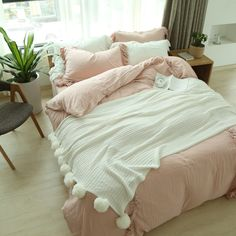 """HOT PRICES FROM ALI - Buy """"ruffled bedding setpink bedspread ruffle bedding bed linen cotton double layered gauze bed sheets queen duvet covers"""" for only 218 USD."""