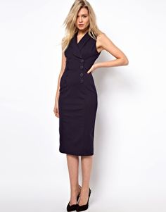 ASOS Pencil Dress in Ponti With Button Detail. lots of cute dresses on this site!