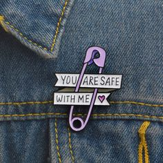 Safety Pin Purple Paper Clip Heart You are safe with me Brooch Pin Badge sold by Ciao Bella . Shop more products from Ciao Bella on Storenvy, the home of independent small businesses all over the world. Bee Brooch, Brooch Pin, Jean Backpack, Women's Brooches, Pin And Patches, Paper Clip, Pin Badges, Lapel Pins, Bella Shop