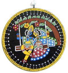 Radha Krishna on a Swing - Wall Hanging (Madhubani Folk Art on Hardboard) Hanging Paintings, Mural Painting, Hanging Wall Art, Silk Painting, Madhubani Art, Madhubani Painting, Ganesha Art, Krishna Art, Creative Embroidery