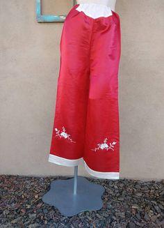 Vintage 1950s Beach Pajama Pants 50s Hostess Loungewear Red