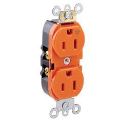 Leviton 285-05262-01G 15 Amp Orange Duplex Receptacle