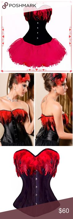 """N Dance hall girl bar girl burlesque Halloween costume comes with Corset and red tutu! Perfect for burlesque, dance hall girl Halloween costume, or a sexy night! Red feathers adorn this pretty corset with steel & Poly boning which will bring in your waist for a sexy silhouette! Corset has lacings that makes it adjustable to a range of sizes.  Large fits bust 36""""-38"""", (36C), waist 28""""-30 and hips 38""""-40"""". NEW with tags!❤️ Dresses Mini"""