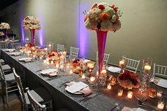 Banquet table decor (Flowers by Lee Forrest Design, photo by: Tab McCausland Photography)