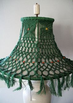 Vintage Macrame Lampshade Green 1960s Hippie by Lionfishvintage, $80.00