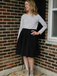Wedgwood box pleat skirt, perfect for fall Box Pleat Skirt, Box Pleats, Pleated Skirt, High Waisted Skirt, Fall Skirts, Straight Stitch, Stitch Design, Wedgwood, Striped Tee
