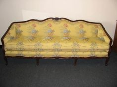 Modern Sectional Sofas GORGEOUS Vintage French Provincial DOWN Filled Settee SOFA Yellow Floral Fabic