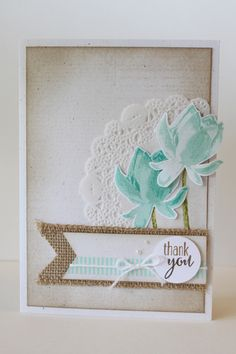 Stampin' Up! SAB Lotus Blossom w/ doily and burlap ribbon, DDStamps