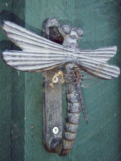 Actual Dragonfly On A Dragonfly Door Knocker. Think They Found A Friend?  LOL!