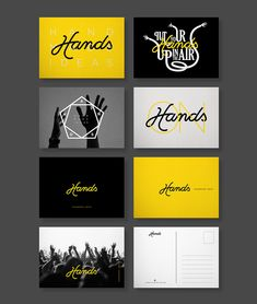 Hands, branding, identity, logo, postcard, black, yellow, hand, design, type