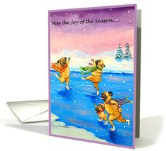 Dogs card: Joy of the Season, Pug Dogs Greeting Card by Lyn Hamer Cook