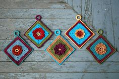 Flower potholders (intersperse with woven potholders?)