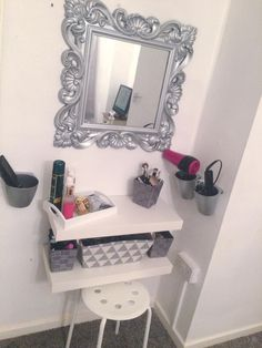 Ikea cutlery cups spray painted to hold hair tools DIY dressing table IKEA hack Floating shelf Grey&white Girls bedroom Ikea Girls Bedroom, Room Decor For Teen Girls, Teen Girl Bedrooms, Small Bedrooms, Bedroom Decor, Bedroom Ideas, Design Bedroom, Small Bedroom Hacks, Bedroom Table