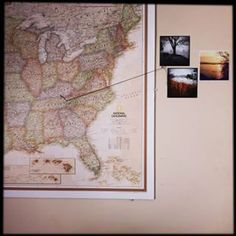 Display travel photos pinned to locations on a map.   27 Unique Photo Display Ideas That Will Bring Your Memories To Life