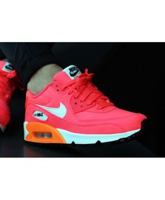 sports shoes 15098 ef2ee Nike Air Max 90 Gs Hyper Punch Ivory Pink Orange Womens Trainers Cheap UK Nike  Shoes
