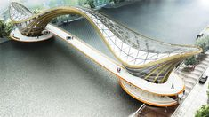 A new Mixed-Use habitable bridge for Amsterdam, the capital of Netherlands, proposed by architect Laurent Saint- Val. the bridge has a cafe & its restaurant Bridges Architecture, Futuristic Architecture, Beautiful Architecture, Art And Architecture, Amsterdam Bridge, Bridge Design, Pedestrian Bridge, Bike Store, Amazing Buildings